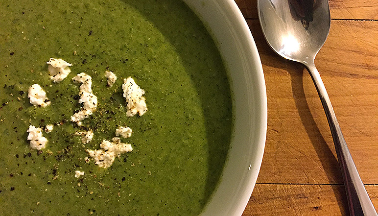 Healthy Recipe for Broccoli, Spinach and Feta Soup